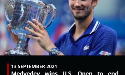 Medvedev wins U.S. Open to end Djokovic calendar Grand Slam bid